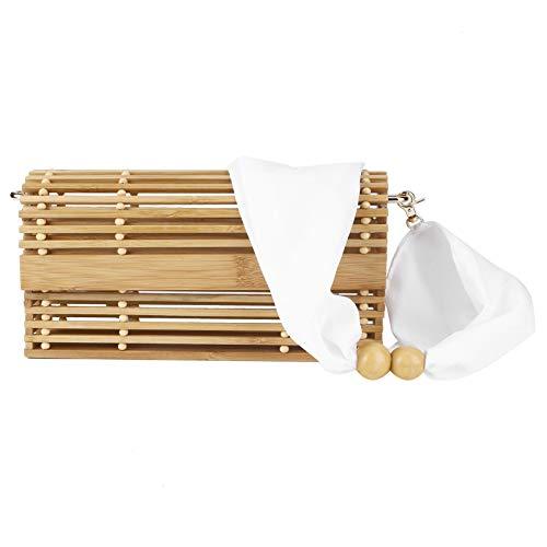 LIUTT Bolsos de Cesta de bambú, Bolso Tejido de bambú Bolsos de Hombro Hechos a Mano con Cinta para Uso en Verano en Vacaciones en la Playa