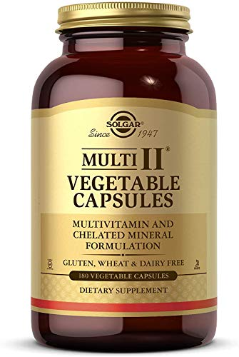 Solgar Multi II- Multivitamin & Chelated Mineral Formulation - Contains Vitamins A, B6, C, D3, E, Zinc & More - Gluten Free, Dairy Free, Kosher - 90 Servings, 180 Count (Pack of 1)