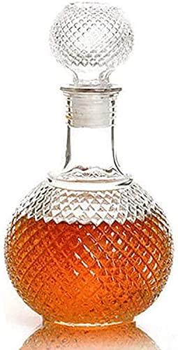 Ghongrm Juego de decantores de Whisky, decantador de Vidrio de Cristal Libre Artesanal Italiano con tapón Adornado, dispensador de Licor escocés Borbón, 250 ml (Size : 500ML)