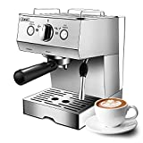 Gevi Espresso Machine 15 Bar with Milk Frother, Expresso Coffee Machine for Espresso, Latte and Mocha, 1.5L Removable Water Tank and Double Temperature Control System, Classial, Sliver, 1050W