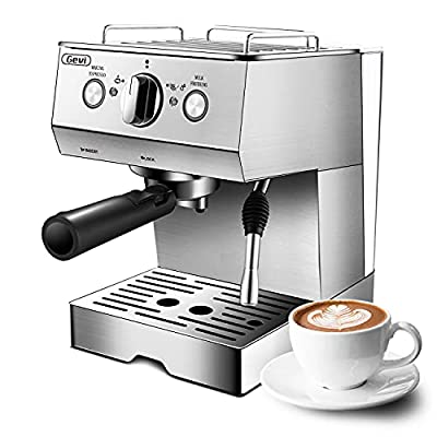 Gevi Espresso Machines 15 Bar with Milk Frother, Expresso Coffee Machine for Espresso, Latte and Mocha, 1.5L Removable Water Tank and Double Temperature Control System, Classial, Sliver, 1050W