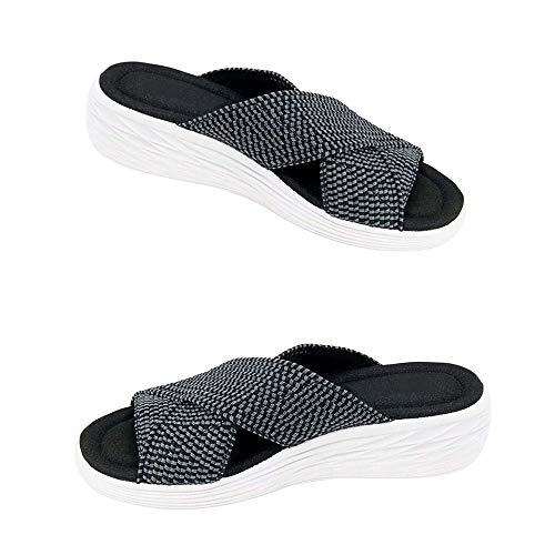 Damen Sandalen Slippers Women Orthopädische Hausschuhe Orthesen Slide Sandalen für Frauen, Orthopedic Slippers, Stretch Cross Orthotic Sandals, Frühlings Sommer Sandalen für Frauen (39, A-Schwarz)
