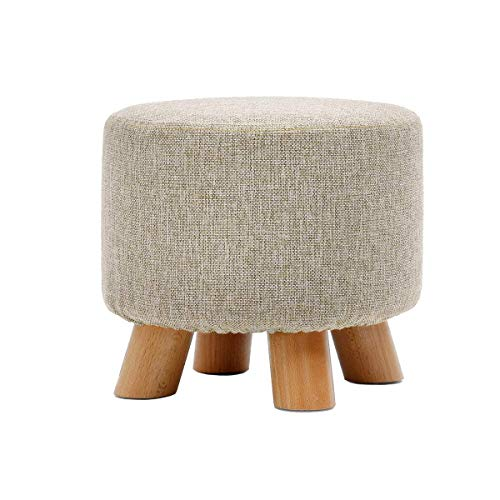 ZHENGTAO Footrest Seat, Sturdy Wrap Shoes Small Bench Round Chair Foot Rest Household Wood Solid Cotton Linen Makeup Stool Puff Puff Puff forKitchen Living Room (Color: Gray)