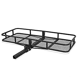 """ARKSEN Folding Cargo Carrier Luggage Basket 2"""" Receiver Hitch (60"""" x 24-3/4"""" inch) Camp Travel Fold Up SUV Camping, Black"""