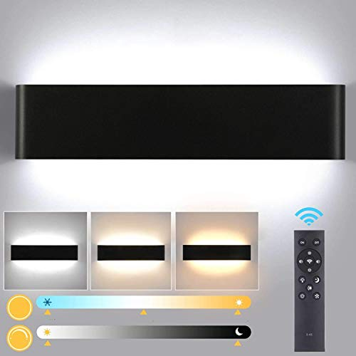 Lightess Apliques de Pared LED Regulable 24W 40CM Lámpara de Pared Interior Moderna Brillo Ajustable con 2.4G Control Remoto Luz de Aluminio para Salón Dormitorio Baño Escalera, Negro (2700K-6500K)