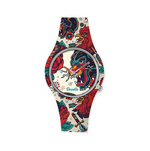 DOODLE Watch ? Armbanduhr für SIE& IHN Ø 39mm   Silikonband > Panther > DOTA001