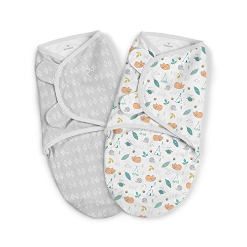 SwaddleMe Original Swaddle – Size Small, 0-3 Months, 2-Pack (Sleepy Forest)