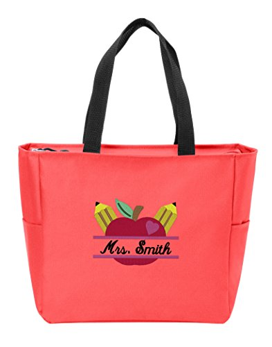 Personalized Canvas Tote Bag with Customizable Teacher's Apple Monogram Shoulder Bag for School Work, Travel and Shopping (Hibiscus)