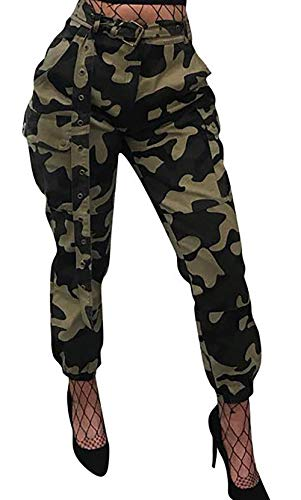 Voghtic Women Army Fatigue Pants Camouflage Printed Military Jogger Sweatpants with Belt