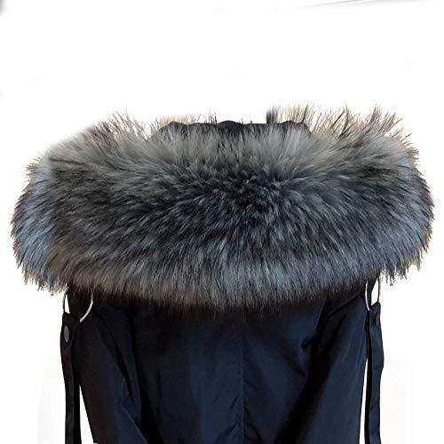 Amorar - Bufanda de pelo de imitación, para mujer, cuello de pelo para invierno, cálida, para capucha, cuello de piel sintética para abrigo de invierno, con botones gris/negro 70CM