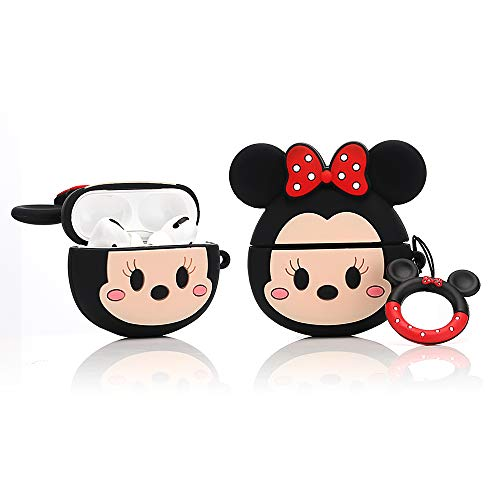 YIGEYI Silikon Hülle Kompatibel mit Airpods Pro Funny Cute 3D Cartoon Case Cover[DSN Benutzerbild Zeichentrickserie] (Minnie Face)
