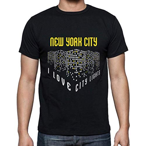 Ultrabasic - Hombre Camiseta Gráfico tee Shirt I Love New York City Lights