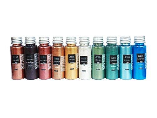 Resin Pro - SAHARA Pigmenti Pearline - Kit di Pigmenti Metallici Misti, Compatibili con Resine Epossidiche, Poliuretaniche, Acrilici, Vernici, Creazioni Artistiche, Decoupage - Multicolore, 10 x 10 GR