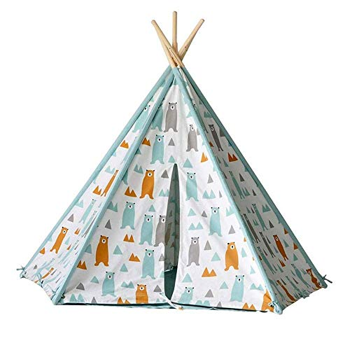 HIGHKAS Kids Teepee Play Tent - Indian Wigwam Children Tipi Play House - 100% Cotton Canvas Princess Girls Tent for Indoor and Outdoor
