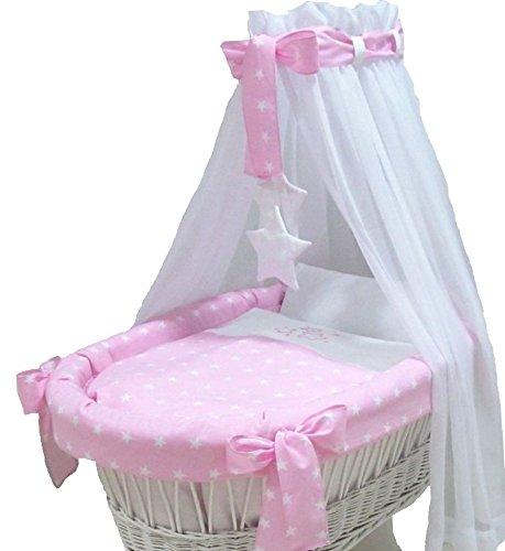 Babymajawelt® Ersatz Bett Set für Stubenwagen - 7 Teile, Bettwäsche, Nestchen, Himmel, Steppbett, Spannbetttuch (ohne Stubenwagen) (Stars rosa)