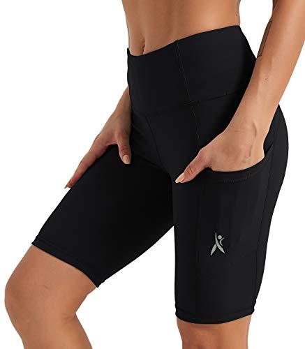 PRIESSEI Pantalones cortos de yoga para mujer, de 8 pulgadas y 5 pulgadas, de cintura alta, con bolsillos laterales - - XXL