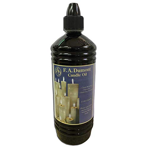 F.A.Dumont Smokeless & Odourless Clear Candle Oil 1 Litre - With Easy Pour Spout