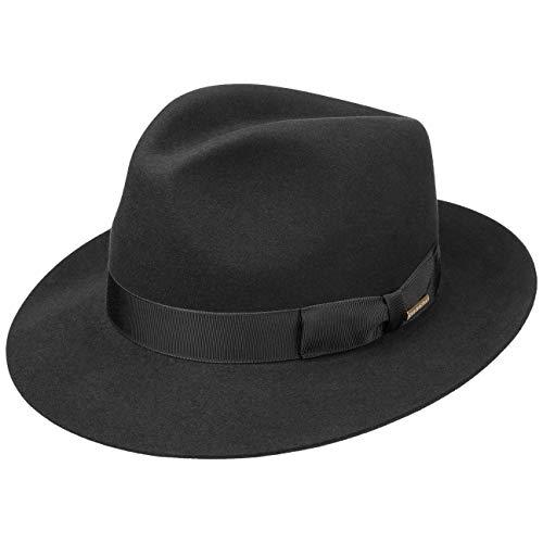 Stetson Sombrero Bogart Penn Mujer/Hombre - Made in The EU de Fieltro Pelo con Vuelta Forro, Banda Grosgrain Verano/Invierno - 61 cm Negro