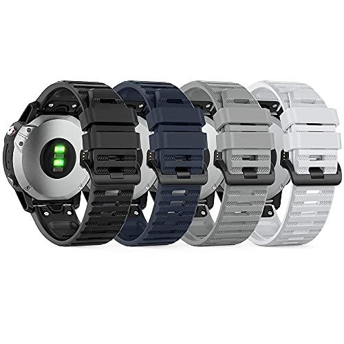 TUSITA QuickFit 22mm Watch Band [4-PACK] Compatible with Garmin Fenix 5 Plus 6 Pro, Approach S60 S62, Forerunner 935 945, Instinct, Quatix 5 Sapphire 6 - Silicone Strap Bracelet Smartwatch Wristband