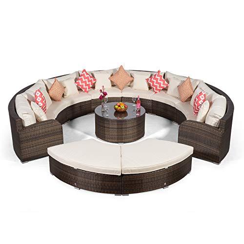 Giardino Riviera 8 Sitzer Rattan Gartenmöbel Set Braun - Sofa, Couchtisch, 2 x Ottomane + Abdeckungen - Halbrundes Garten Lounge Möbel Set 11-teilig
