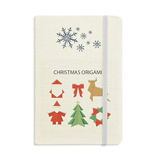 Cuaderno abstracto rojo con patrón de origami de Navidad grueso diario copos de nieve invierno