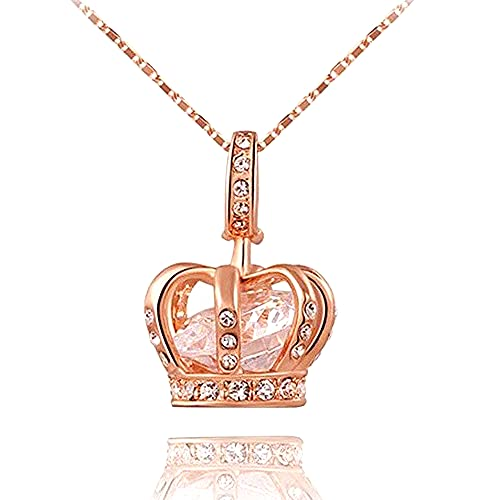 TIDOO Jewelry Womens Queen and Crown Pendant Necklace 18.5+2.16inch Chain- 3 Lays Rose Gold / Platinum Plated With Austrain Crystals