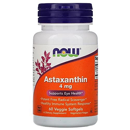 Astaxantina 4mg Now - 60 Veg Softgels Saúde Ocular