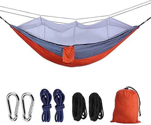 Hamaca para acampada, ultraligera, 200 kg, capacidad de carga transpirable de nailon de secado rápido, para exteriores, interiores, jardín, camping, hamaca (color zafiro-SkyBlue) LQH Rojo gris.