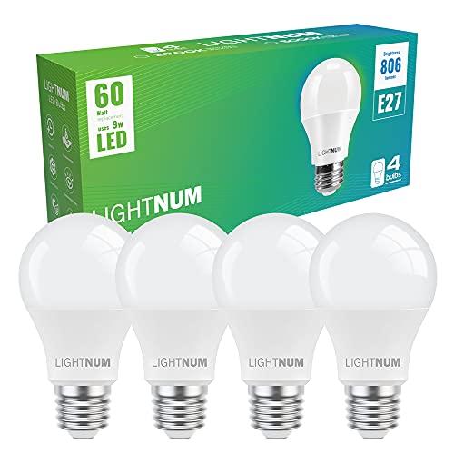 E27 LED Warmweiss, LIGHTNUM 9W LED Birne Ersetzt 60W Halogenlampen, 806 Lumen, 2700K Warmweiß, Matt, Kolbenform, E27 LED lampen, Edison Glühbirne E27, A60 LED Leuchtmittel, Nicht Dimmbar, 4 Stück