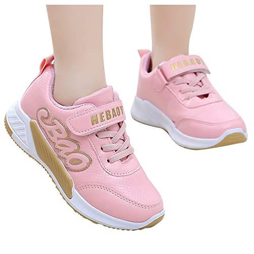 ZHANSANFM Baby Mädchen Sport Sneaker Elastisch Atmungsaktiv Freizeitschuhe Kinderschuhe Rutschfeste Klettverschluss Leichte Outdoor Sportschuhe Mode Kinder Lauflernschuhe 27 EU Rosa