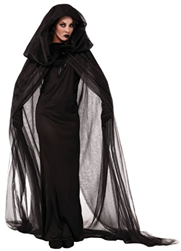 Asskyus Femmes Halloween Robe À Capuche Costume fantôme Robe Parti Cosplay (XL, Noir)