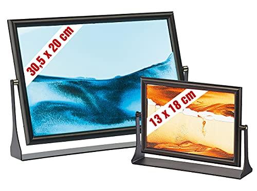 infactory Sandbilder zum Drehen: 2er-Set Sandbilder Eldorado und Blue Ocean (bewegliche Sandbilder)