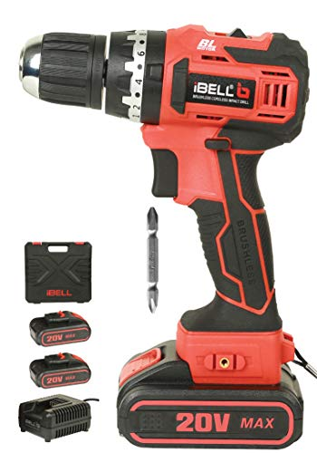iBELL BM18-60 20V Brushless Impact Driver Drill (Cordless) with 2 Batteries, Charger, Case and Screw Driver Bit - 6 Months Warranty.