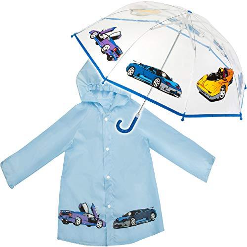 alles-meine.de GmbH 2 TLG. Set: Regenschirm + Regenjacke - Auto & Fahrzeuge - Kinderschirm - Ø 79 cm - durchsichtig & durchscheinend - transparent - Regencape - Kinder - 2 bis 6 ..