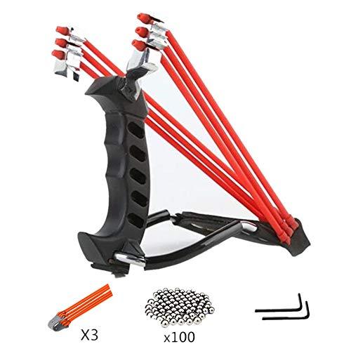 KAINI Hunting Slingshot Outdoor Shot,Professional Slingshot Set Metal Wrist Rocket Slingshot with High Velocity Catapult 100 Ammo Balls and 3 Rubber Bands for Adult and Kids(Black)