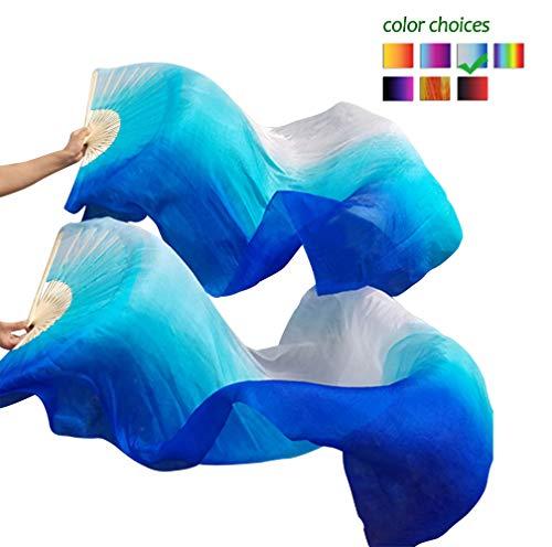 KIKIGOAL 1 Pair(Left+Right) Women Real Silk Belly Dance Fan Veil, Length 180cm Width 90cm (Gradual Blue)