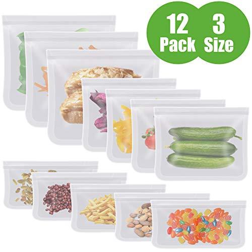 Aunus Bolsas Reutilizables para Almacenamiento de Alimentos,12 Piezas Bolsas Congelar Reutilizable,Bolsas Reutilizables para Fruta Sándwiches Verduras,1.5mm Súper Grueso Sello Sin BPA