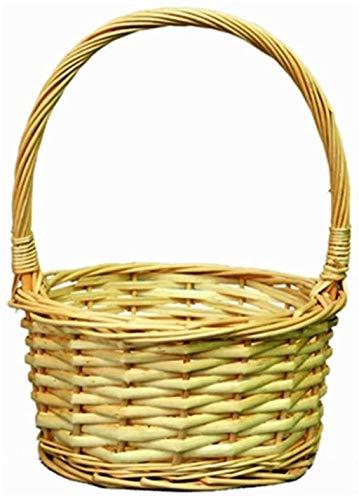 MISLD Rattan Basket Hand Korb Weidenkorb Ablagekorb Woven Korb Kinder Picking Picknick-Korb Willow Hamper Zubehör für Outdoor Party,C,S