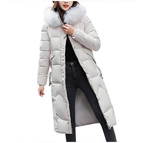 JINF ATRISE Casual Jackets,Winter Warm Overcoat Fur-Collar Zipper Thicker Coat Outwear Long,Coats Parka Womens Long Jackets White