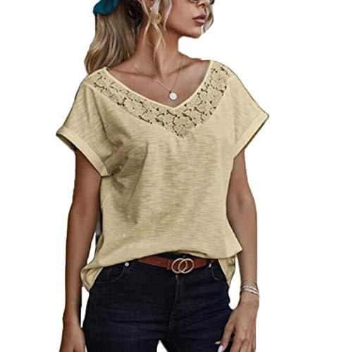 Top de Camiseta de Color slido de Manga Corta con Cuello en V de Encaje Casual Nuevo para Mujer