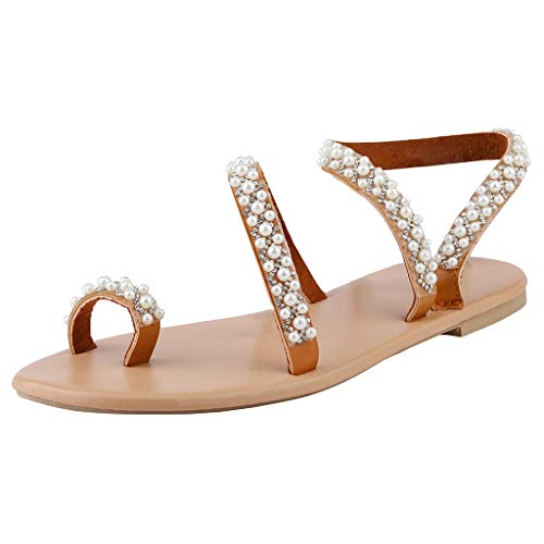 Amazing Deal ANJUNIE Women Crystal Pearl Flat-Soled Sandals Casual Shoes Comfort Soft Flip Flop Slip...