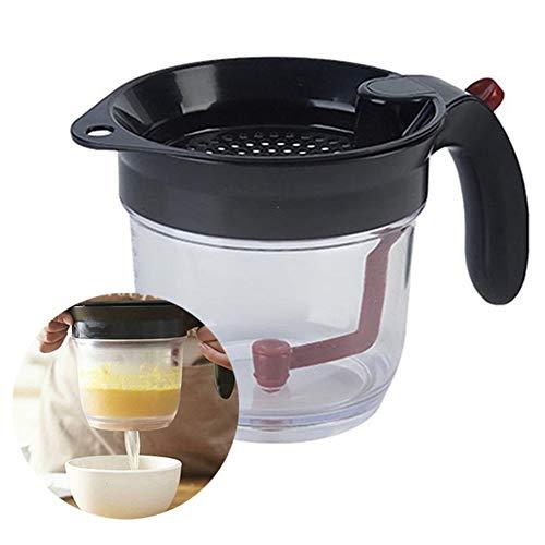 Fettabscheider für Soße, Fett- und Ölsieb von professioneller Qualität, mit Filterfilter für Bodenrücksiebfilter Suppenrückstandsölabscheider, perfekt für Soße, Knochenbrühe, Suppe, Sauce und Ghee