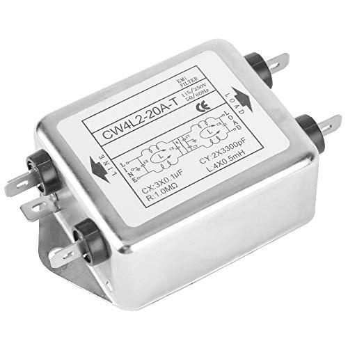 Yosoo Health Gear Stromleitungs-EMI-Filteranschluss, 115 V/250 V, 20 A, 50/60 Hz Hochleistungs-Netzfilter, CW4L2-20A-T