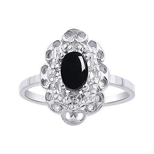 Juego de anillos de plata de ley con diamante y ónix
