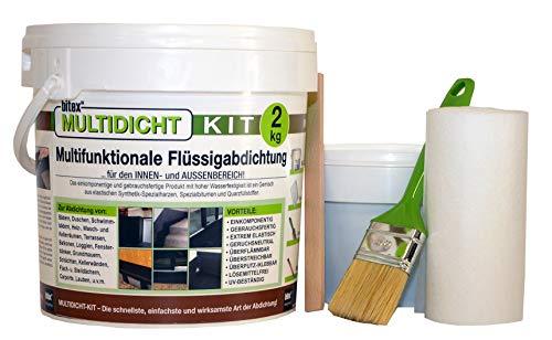 Multidicht Kit 460080 - ETAG 005 geprüft und zertifiziert - Flüssigabdichtung, Abdichtung für Bad, Dusche, Schwimmbad, Kellerräumen, Terrasse, Balkon, Fensterbank, u.v.m.