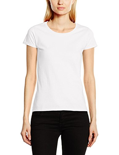 Fruit of the Loom Ss129m, Camiseta Para Mujer, Blanco, S (Ta