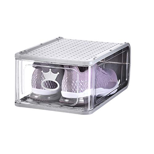 4 Pack Shoe Cajas Clear Plastic Apilable, Cajas De Almacenamiento, Organizador De Zapatos Con Tapas, Portátiles De Apertura Delantero Contenedores, Organizador De Zapatos Ahorro De Espacio,Gris