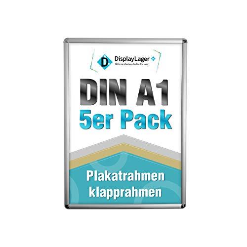 DisplayLager - 5 Rondo Klapprahmen DIN A1 | Plakatrahmen mit 25mm Silber alu Profil | inkl. entspiegelter Schutzscheibe und Befestigungsmaterial | Wechselrahmen/Posterrahmen/bilderrahmen