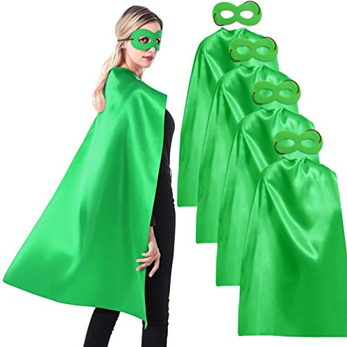 ADJOY 5 Sets Green Superhero Capes and Masks for Adults Teenagers Men & Women - Dress Up Party Superhero Costumes for Team Building