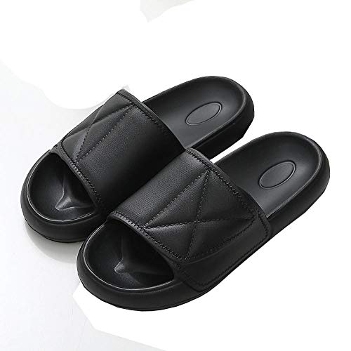 KIKIGO Zapatillas Piscina Mujer,Zapatillas de Verano para baño de Interior, Sandalias de casa para Hombre a Prueba de baño.-Negro_EU 44